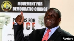 Zimbabwe opposition party Movement For Democratic Change (MDC) leader Morgan Tsvangirai.