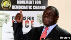 Zimbabwe's opposition Movement For Democratic Change (MDC) leader Morgan Tsvangirai speaks at a news conference in Harare September 18, 2013.