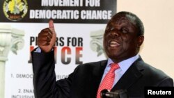 FILE - Zimbabwe opposition party Movement For Democratic Change (MDC) leader Morgan Tsvangirai addresses a news conference in Harare, Sept. 18, 2013.