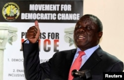 FILE - Zimbabwe opposition party Movement For Democratic Change (MDC) leader Morgan Tsvangirai addresses a news conference in Harare Sept. 18, 2013.