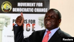 FILE: Zimbabwe opposition party Movement For Democratic Change (MDC) leader Morgan Tsvangirai addresses a news conference in Harare Sept. 18, 2013.