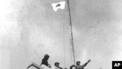 一九三七年日軍攻陷南京在中央政府大樓頂升上日本國旗