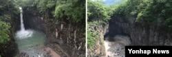 경기북부에 호우예비특보가 내린 10일 연천군 재인폭포에서 물이 쏟아지고 있다(왼쪽사진). 오른쪽 사진은 지난달 14일 가뭄으로 완전히 말랐던 모습.