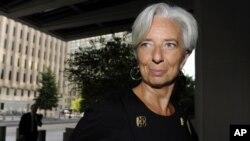 Christine Lagarde, arrivant à Washington pour des entretiens avec le FMI