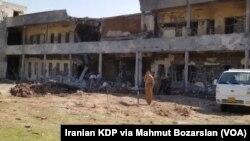 مقر حزب دمکرات کردستان ایران در کردستان عراق پس از حمله موشکی سپاه