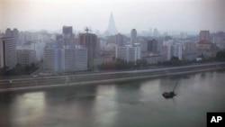 A 2008 file photo of Pyongyang, North Korea, at dusk
