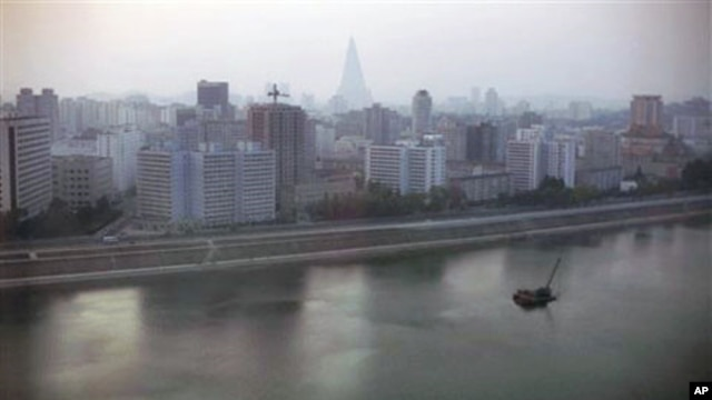 A 2008 file photo of Pyongyang, North Korea, at dusk