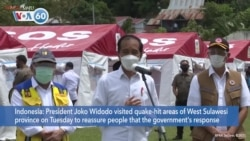 VOA60 Addunyaa - Indonesia: President Widodo visited quake-hit areas of West Sulawesi province