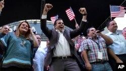 El gobernador de Puerto Rico, Ricardo Rosselló, celebra el resultado del referendo sobre el estatus de la isla.