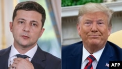 FILE - Ukraine's President Volodymyr Zelenskiy in Paris, June 17, 2019, and U.S. President Donald Trump in the Oval Office at the White House, Sept. 20, 2019.