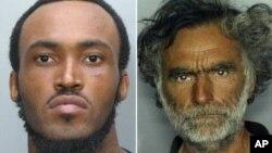 El agresor Rudy Eugene, a la izquierda, y su víctima, el indigente Ronald Poppo, antes de quedar con el rostro despedazado.