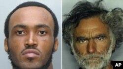 Rudy Eugene, de 31 años, izquierda, es la persona a la que mató la policía cuando comía la cara de Rondal Poppo, de 65 (derecha), otro indigente de Miami.