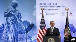El presidente Barack Obama se unió a los líderes de naciones africanas en su planteo por seguridad alimentaria y lucha contra el hambre y la pobreza.