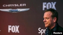"Aktor Kiefer Sutherland tiba pada pemutaran perdana serial Fox ""24: Live Another Day"" di New York May (2/5). (Reuters/Lucas Jackson)"