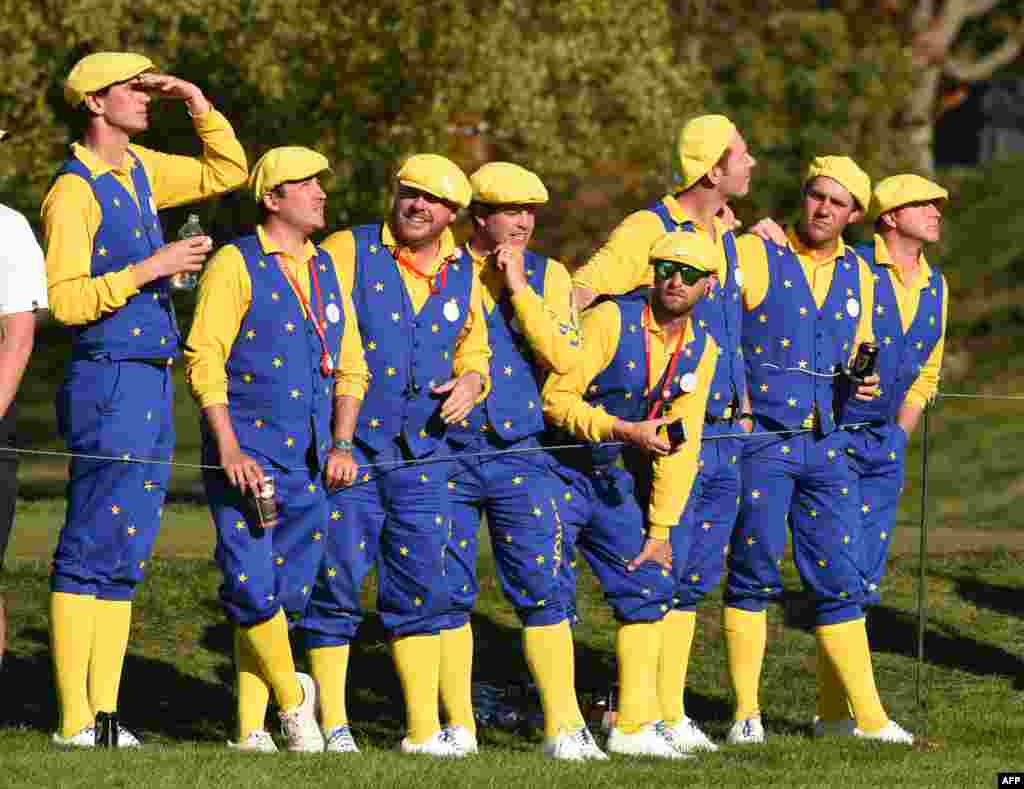 Europe Fans look on during the afternoon football matches at Hazeltine National Golf Course in Chaska, Minnesota, Oct.1, 2016, during the 2016 Ryder Cup competition between Europe and the USA.