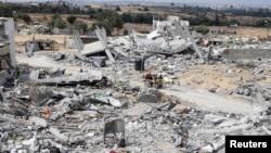 نمایی از ویرانه های ناشی از جنگ بین اسرائیل و حماس در نوار غزه