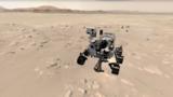 El rover Mars Perseverance de la NASA se muestra en su lugar de aterrizaje en el cráter Jezero en esta vista de la experiencia web 3D 'Explore with Perseverance'. [Foto: cortesía de la NASA].