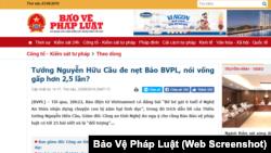 Báo Bảo Vệ Pháp Luật đăng bài phản bác phát biểu của Giám đốc Công an tỉnh Nghệ An.