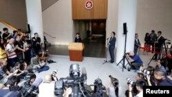 香港特首林鄭月娥2019年8月20日在香港舉行新聞發布會。