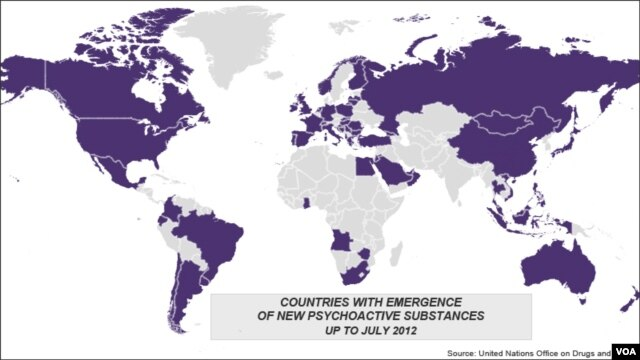 Countries with emergence of psychoactive drugs worldwide