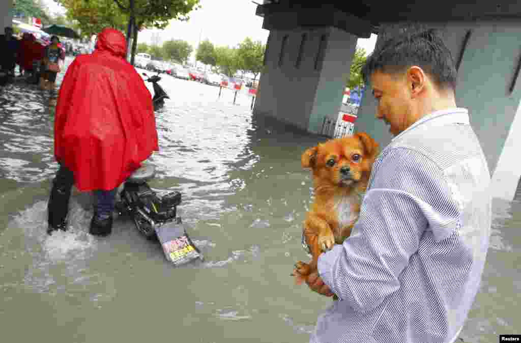 A man holds his dog as he walks along a flooded street after Typhoon Fitow hit Shanghai, China, Oct. 8, 2013.