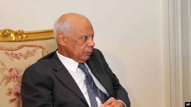 In this image released by the Egyptian Presidency, Hazem el-Beblawi meets with interim President Adly Mansour, unseen, in Cairo, July 9, 2013.