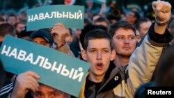 9일 시장 선거가 치뤄진 러시아 모스크바에서 야당 지지자들이 부정 선거를 주장하며 시위 중이다.