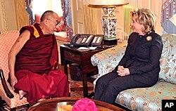 The Dalai Lama (left) talks with US Secretary of State Clinton in Washington, 18 Feb 2010