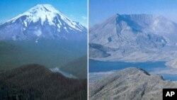 Vulkan Mount St. Helens prije i nakon erupcije 1980.