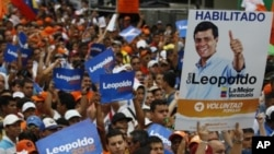 Supporters of opposition leader Leopoldo Lopez hold up campaign posters at a rally where Lopez was expected to announce his presidential bid, in Caracas, Venezuela, September 24, 2011.
