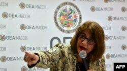 La portavoz de la MACCIH, Ana María Calderón, durante una conferencia de prensa en Tegucigalpa el 24 de septiembre de 2019.