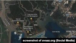 Ảnh vệ tinh về địa điểm dự án lấn biển Cần Giờ, do người kiến nghị đăng lên avaaz.org