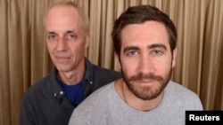 "Director Dan Gilroy (L) and actor Jake Gyllenhaal are photographed during the LA Junket for the film ""Nightcrawler"" in Los Angeles Oct.11, 2014."