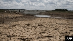 This photo shows the fast-drying catchment area of the Umzingwani dam in Matabeleland, southwestern Zimbabwe, Feb. 7, 2016. President Robert Mugabe had declared a state of disaster two days earlier in many rural areas hit by a severe drought.