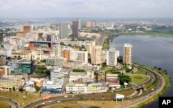 Une vue aérienne du quartier du Plateau, à Abidjan