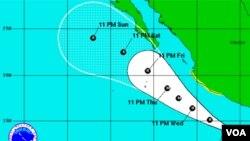 El huracán Dora evolucionará en paralelo a la costa de México, en aguas del Pacífico, indican los meterólogos.