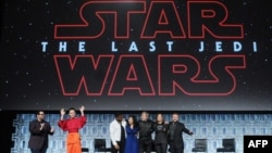Josh Gad, Daisy Ridley, Kelly Marie Tran, Mark Hamill, Katheen Kennedy and Rian Johnson attend the Star Wars: The Last Jedi panel at the Orange County Convention Center, April 14, 2017, Orlando, Florida.