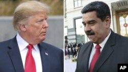 Hình ảnh ghép chân dung Tổng thống Trump và Tổng thống Venezuela Maduro.