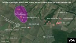 馬航MH-17航班在烏克蘭東部墜毀後﹐航機殘骸散布方圓。
