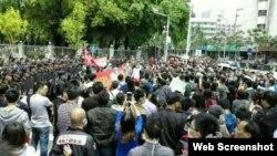 广东河源上万人市中心游行抗议火电厂扩建(博讯网图片)