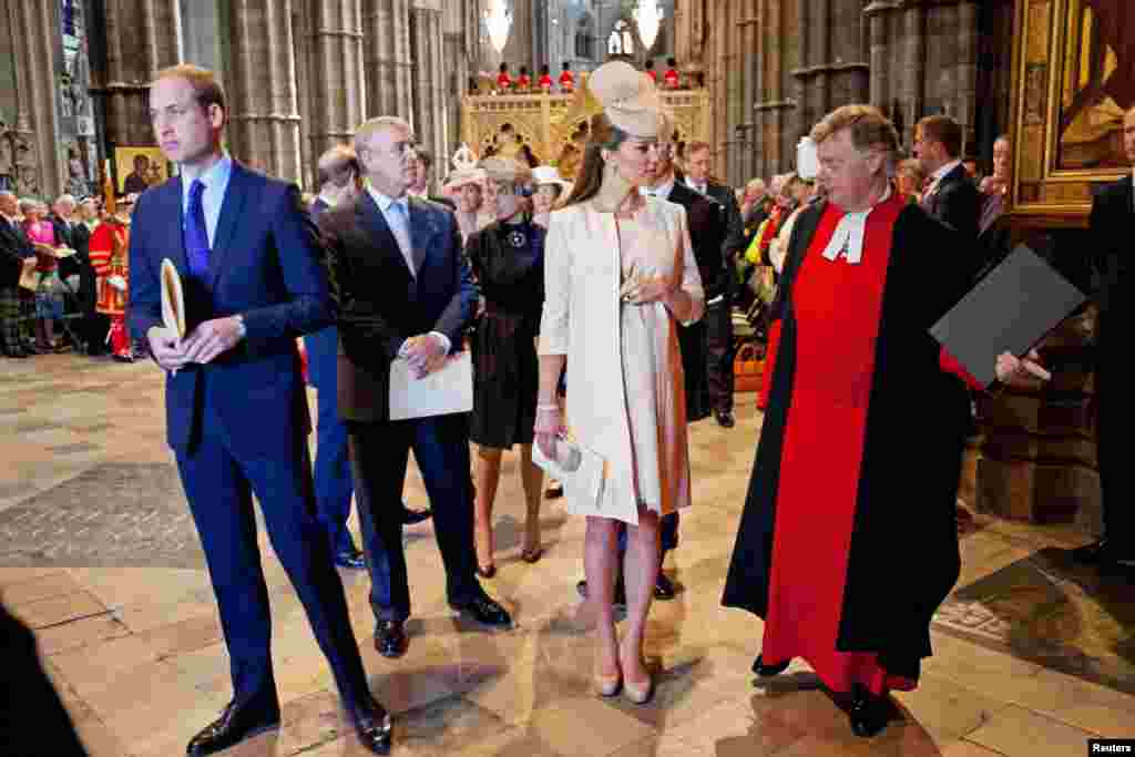 Britain's Prince William, Prince Andrew and Catherine, Duchess of Cambridge arrive for a service celebrating the 60th anniversary of Queen Elizabeth's coronation at Westminster Abbey, London June 4, 2013.