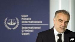 International Criminal Court prosecutor Luis Moreno-Ocampo gives a press conference, in The Hague, the Netherlands, 01 Apr 2010