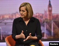 Britain's Home Secretary Amber Rudd, appears on the BBC's Marr Show in London, Sept. 17, 2017.