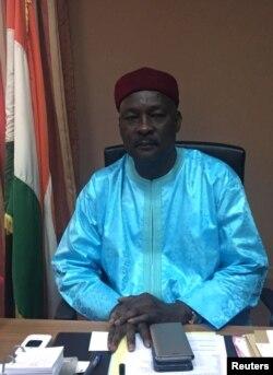 Niger Defense Minister Kalla Mountari poses in his office in Niamey, Niger, Nov.1, 2017.