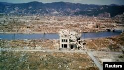 Hiroşima şəhərinin ümumi görüntüsü - atom bombası atıldıqdan 6 ay sonra. Mart, 1946.