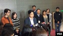 2019年1月8日香港记协等新闻工作者团体会晤政务司司长后在特区政府总部举行记者会 (美国之音记者申华拍摄)