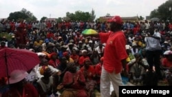 Morgan Tsvangirai addressing supporters.