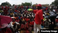 FILE: Morgan Tsvangirai addressing supporters in Harare.