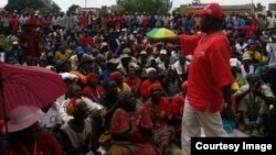 Morgan Tsvangirai addressing supporters in Harare.