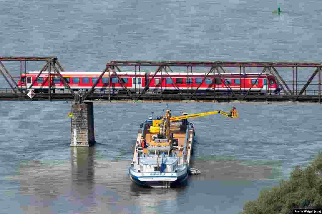 ក្រុមអ្នកជំនាញនៃគម្រោងផ្លូវរថភ្លើង Deutsche Bahn ពិនិត្យមើលស្ពានមួយពីទូកមួយនៅទន្លេ Donau ជិតក្រុង Bogen ប្រទេសអាល្លឺម៉ង់។